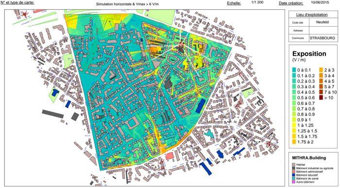 Le Neufeld à Strasbourg, en bleu les zones sous 0,5 volt par mètre (très faible exposition) (document CUS)
